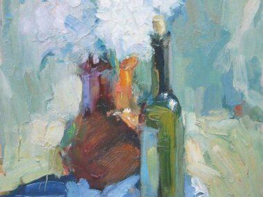Хризантемы и бутылка