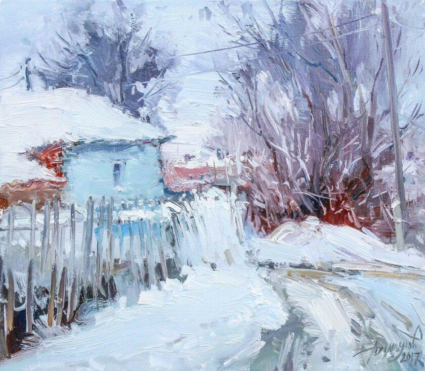 Снег на заборе